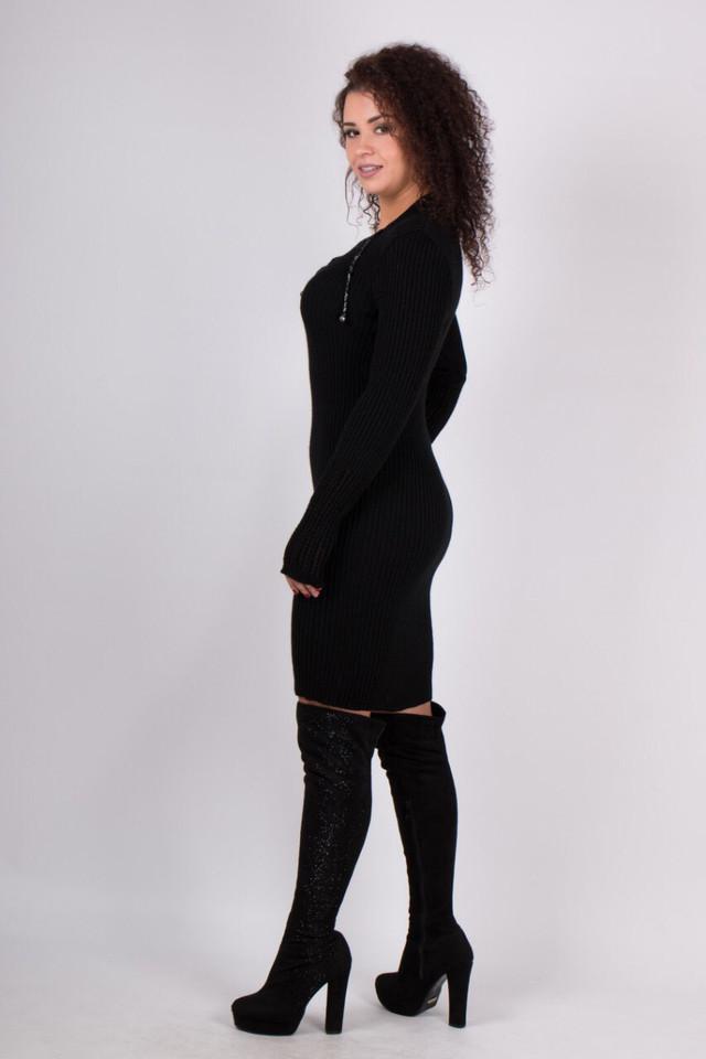 Теплое вязаное платье миди Риана черный