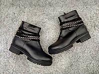 Короткие ботинки натуральная кожа женские зима