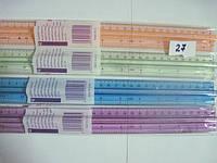 Линейка пластиковая 30см с ручкой, цветная