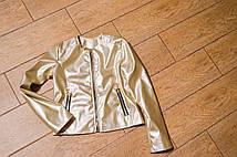 Пиджак для девочки из эко-кожи золотистого цвета. Размеры с 128 до 146