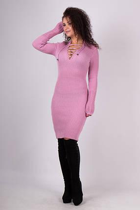 Вязаное трикотажное платье по фигуре Риана пудра, фото 2