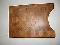 Кухонная торцевая разделочная доска с вырезом для тарелки 45х30х5 см из дуба С45х30