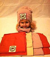 Трикотажная шапка с хомутом для девочки р 46-50 оптом