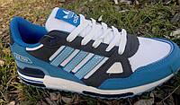 Кроссовки Adidas ZX 750 ( White/Blue ) из натуральной кожи