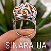 Срібний перстень з натуральним бурштином, фото 2