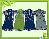 Комплект для мальчика: шорты на лямках + рубашка.