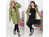 Зимнее пальто на синтепоне и меху женское, норма, батал, разные цвета.