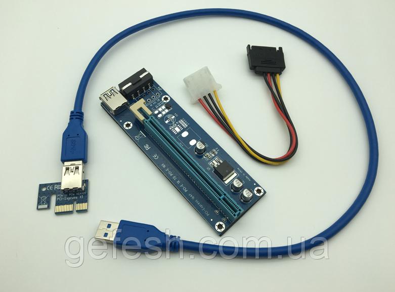 Райзер USB 3.0 PCI-E Express Riser 1X - 16X для видеокарт 60 см 006C