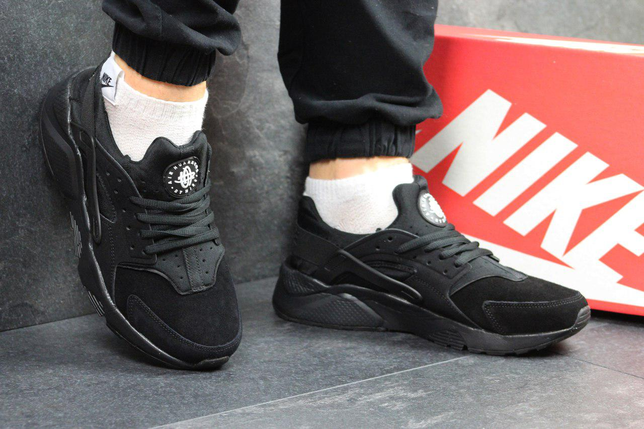 Мужские кроссовки Nike Huarache (черные), ТОП-реплика