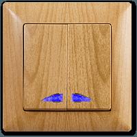 Gunsan Visage Клен Выключатель двухклавишный с подсветкой