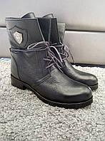 Ботиночки женские натуральная кожа флотар  черные шнуровка