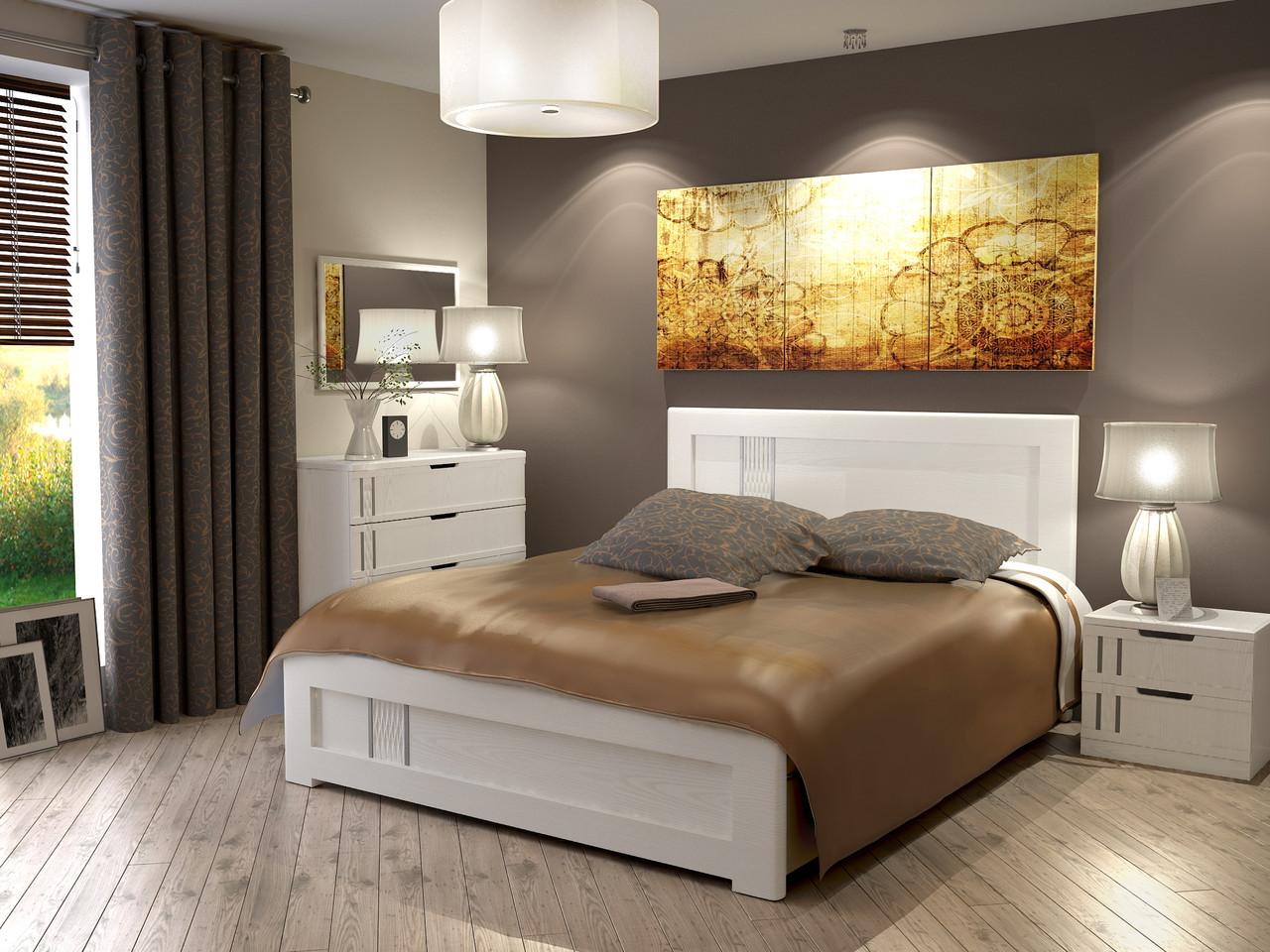 Кровать Зоряна 1,4 Скол дуба белый