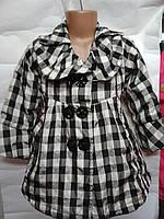 Курточка, теплый плащик клетка для девочки 1-3 года