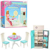 Мебель для кукол Кухня, стол, стулья, холодильник, посуда, 2812