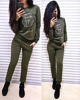 Костюм женский теплый свитшот и брюки двунитка на флисе разные цвета Dol757, фото 1