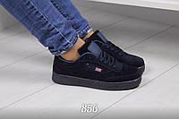 Кроссовки Dark Blue  материал  эко-замша тёмно - синие р  36, фото 1
