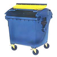 4х-колесный контейнер 1100л пластиковый с круглой крышкой