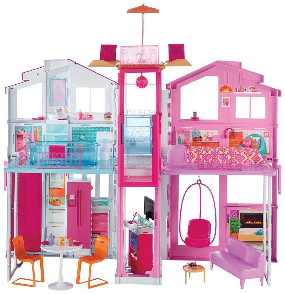 Городской дом мечты Барби Малибу 3-этажный с лифтом Barbie Pink Passport 3-Story Townhouse