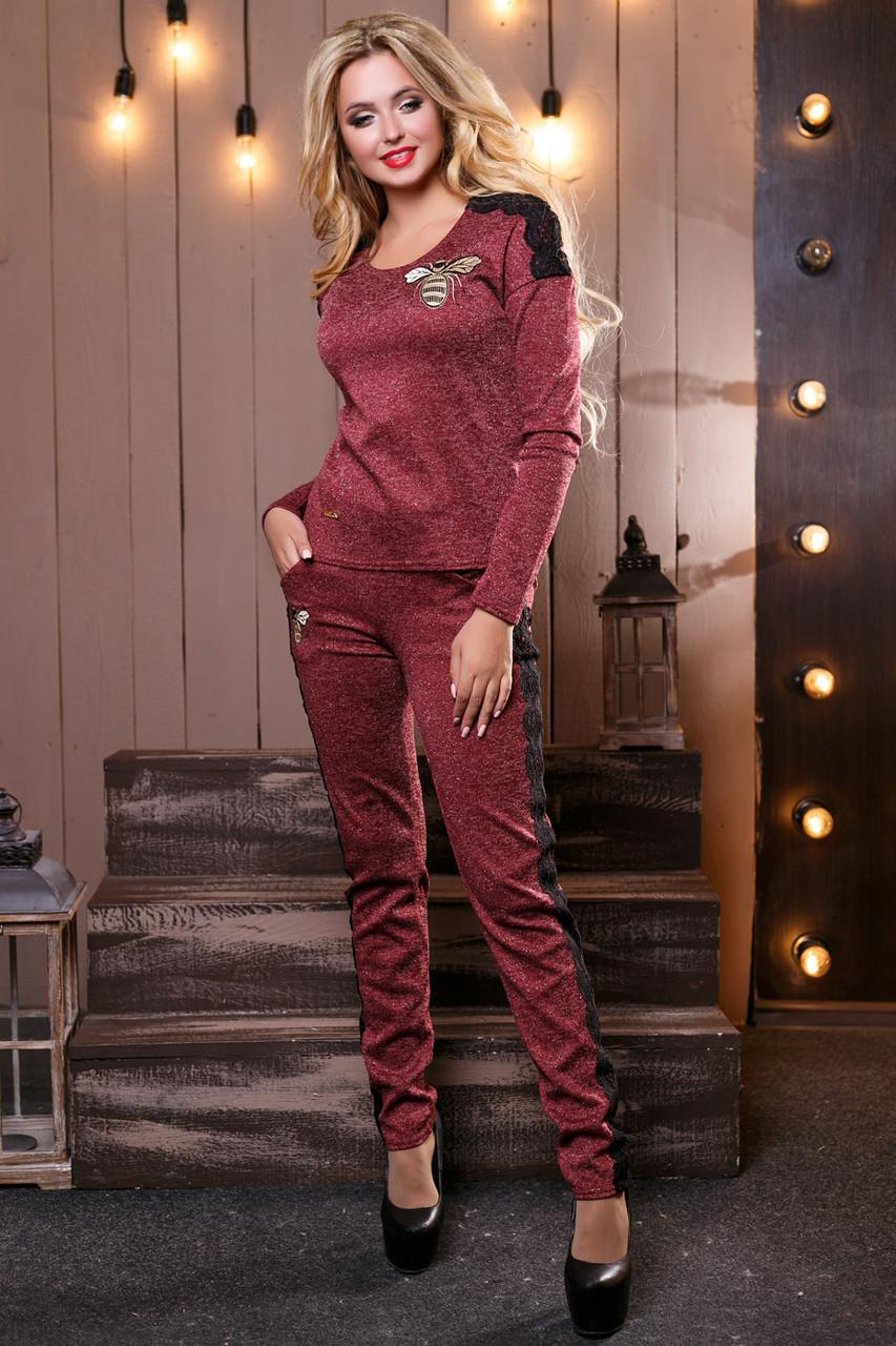 43a23144d8a Модный теплый женский костюм брючный из ангоры люрекс с кружевом 42-48  размеры - 💎