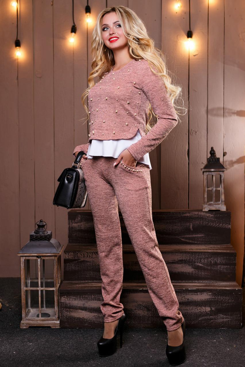 f4c7840b1ff Модный теплый женский костюм брючный из ангоры люрекс с кружевом 44-50  размеры жемчугом