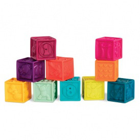 Развивающие силиконовые кубики - ПОСЧИТАЙ-КА! (10 кубиков,  в сумочке,
