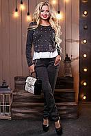 Модный теплый женский костюм брючный из ангоры люрекс с кружевом 44-50 размеры жемчугом, фото 1