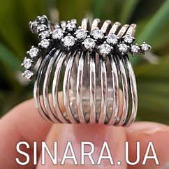 Серебряное кольцо перстень с чернением и фианитами Земфира