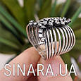 Серебряное кольцо перстень с чернением и фианитами Земфира, фото 3