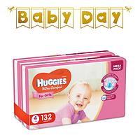Подгузники детские Huggies Ultra Comfort для девочек 4 (7-16 кг) Mega Pack 132 шт