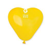 Шары воздушные латексные Gemar пастель Сердце желтое 6'' 16 см