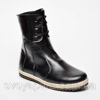 Ботинки чёрные зимние для мальчика детские из натуральной кожи