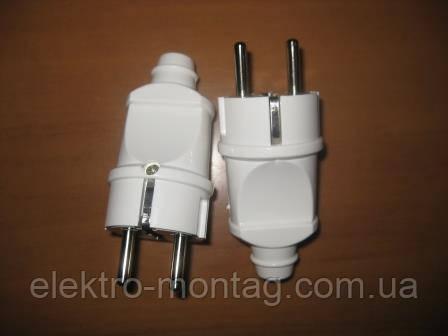 Электровилка с заземлением   БЦ белая прямая