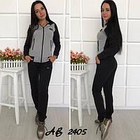 """Спортивный женский костюм """"Time"""": штаны на манжетах и кофта с капюшоном, серый"""