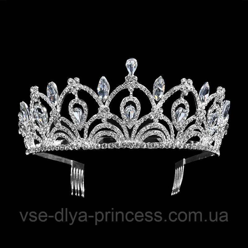 Корона для конкурса, диадема под серебро, тиара, высота 5,5 см.