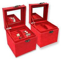 Бархатная шкатулка для украшений (3 уровня), цвет бордовый