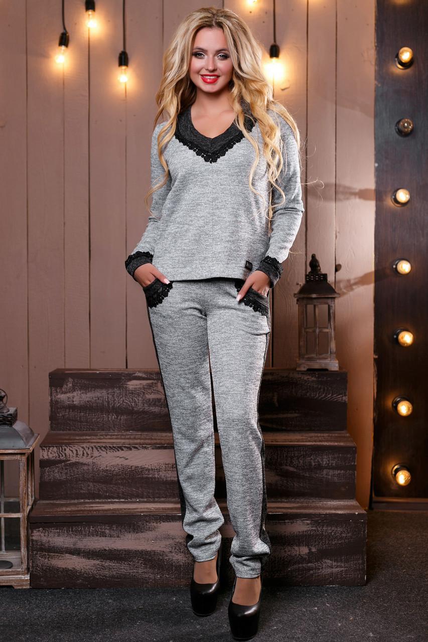 c2637454776 Модный теплый женский костюм брючный из ангоры люрекс с гипюром 42-48  размеры - 💎