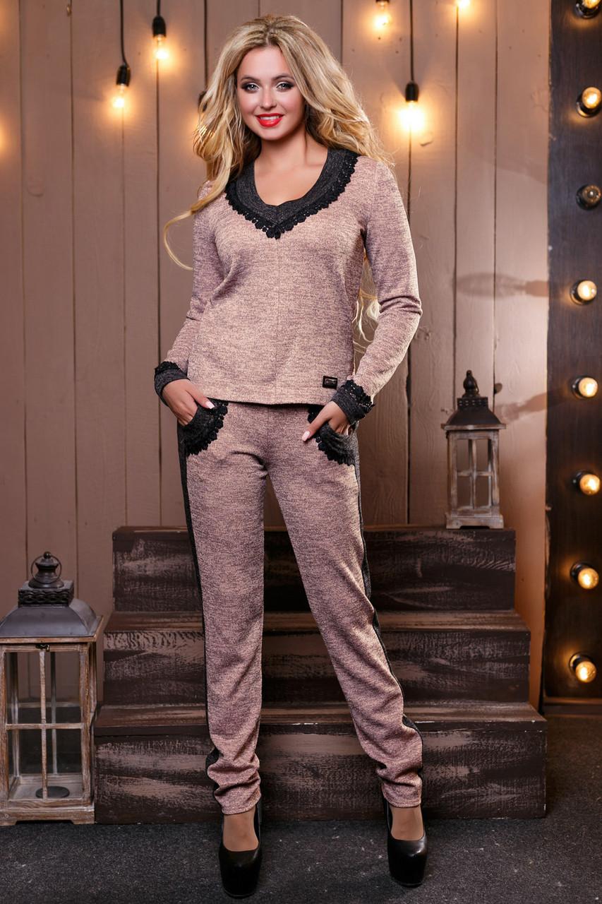 c42acaba3c4 Модный теплый женский костюм брючный из ангоры люрекс с гипюром 42-48  размеры