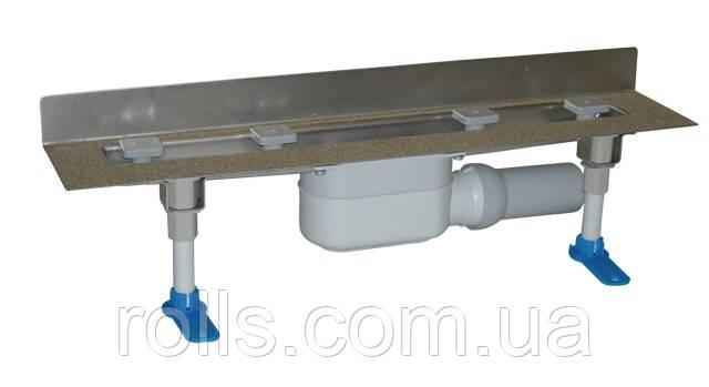 HL50W/100 Угл. душевой лоток пристенный для лин. отведения воды с сифоном DN50, с материалом для монтажа