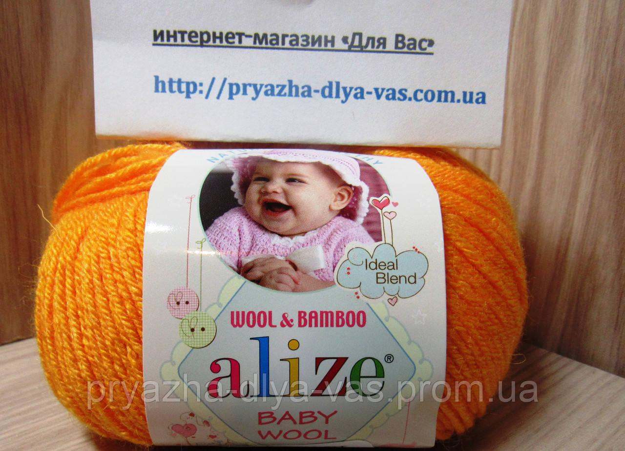 Детская пряжа (40%-шерсть, 20%-бамбук, 40%-акрил, 50 г/175 м) Alize Baby Wool 14(оранжевый)