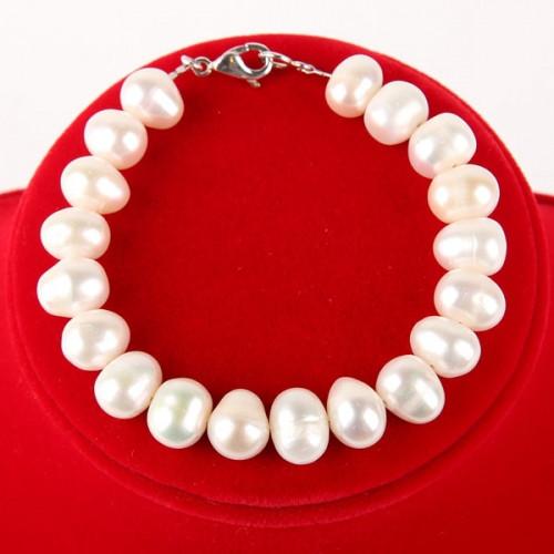 Браслет - натуральний білий перли