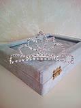 Детская корона с  камнями, диадема на гребешке, тиара для девочки, высота 4,5 см., фото 2