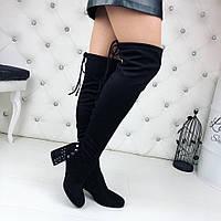 Женские чёрные замшевые ботфорты демисезонные на каблуке