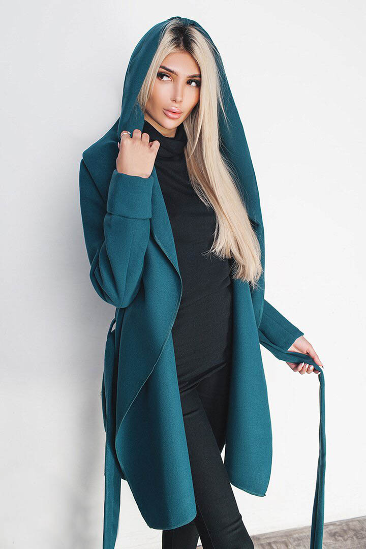 Кашемировое пальто  -ЛАГЕРТА- изумруд