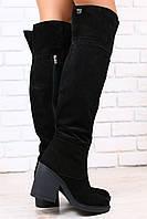 Зимние женские сапоги-ботфорты, европейка, черные, замшевые, на небольшом, устойчивом каблуке