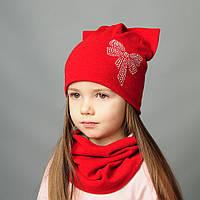 Комплект шапка и хомут весна для девочки с ушками и камушками Хлоя