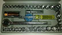 Набор инструментов на 40 предметов. Набор головок с трещоткой. + футляр