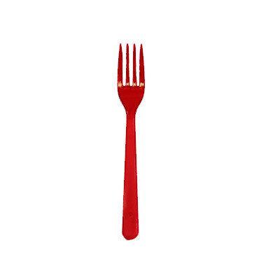 Вилка одноразовая стекловидная красная (100 штук)