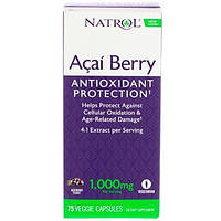 Natrol, Ягоды асаи, 1000 мг, 75 вегетарианских капсул