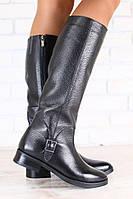 Сапоги демисезонные женские черные кожаные с пряжкой без каблука