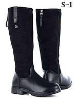 РАСПРОДАЖА ! Женские черные зимние высокие замшевые кожаные (эко) сапоги черные сапожки